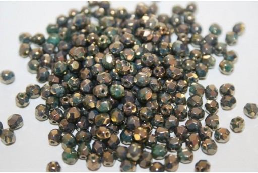 Fire Polished Beads Turquoise-Bronze Picasso 4mm - 60pz