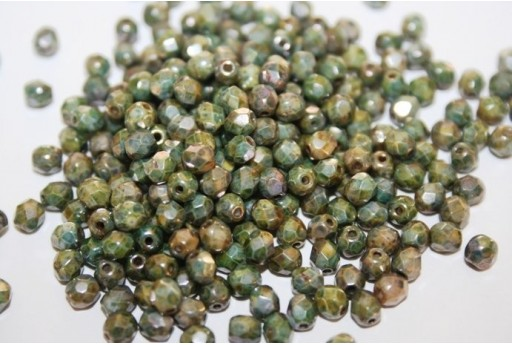Fire Polished Beads Luster-Marble Green 4mm - 60pz