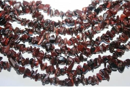 Filo Circa 220 Pietre Occhio di Tigre Rosso Chips 5x8mm OCDT18