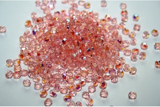 Fire Polished Beads Light Rosaline AB 4mm - 60pz