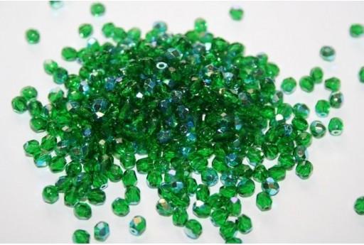 Perline Mezzi Cristalli Green Emerald AB 4mm - 60pz