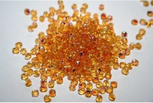Fire Polished Beads Medium Topaz AB 4mm - 60pz X10040