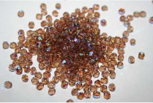 Fire Polished Beads Light Colorado Topaz AB 4mm - 60pz