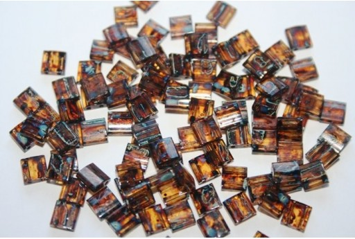 Miyuki Tila Beads Picasso Dk Amber Trans. 5mm - 5gr