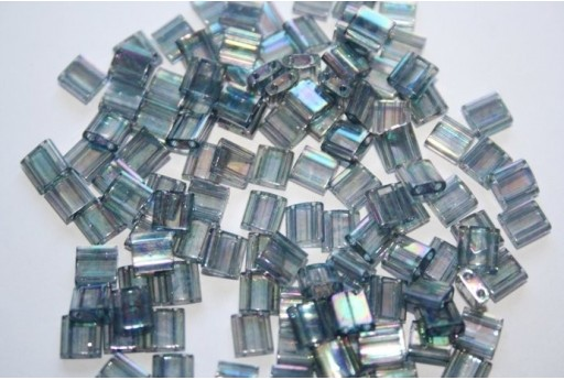 Miyuki Tila Beads Dark Tran. Grey Rainbow Luster 5mm - 5gr