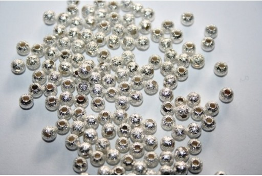 Silver Plated Stardust Round Spacer Beads 4mm - 36pcs