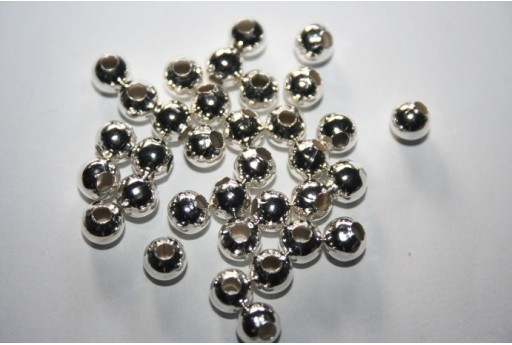 Silver Plated Round Spacer Beads 6mm - 13g