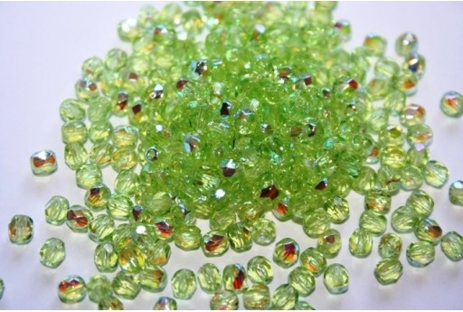 Perline Mezzi Cristalli Lima Green AB 4mm - 60pz