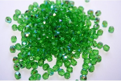 Fire Polished Beads Green AB 4mm - 60pz
