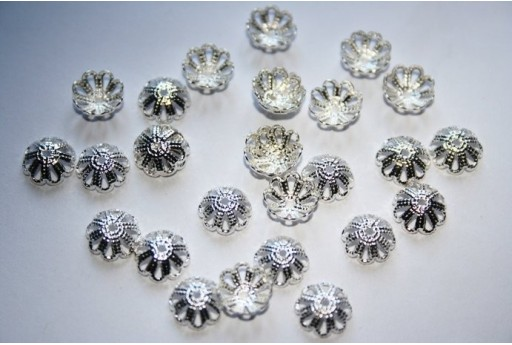 Silver Plated Bead Caps 8mm - 40pcs