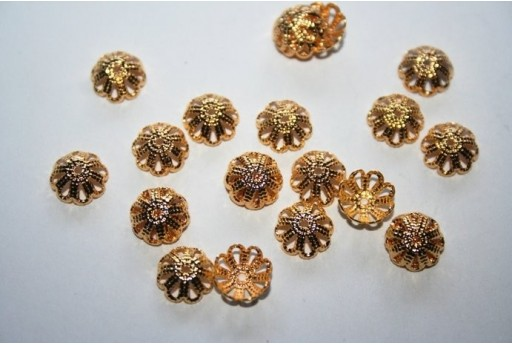 Gold Plate Bead Caps 8mm - 40pcs
