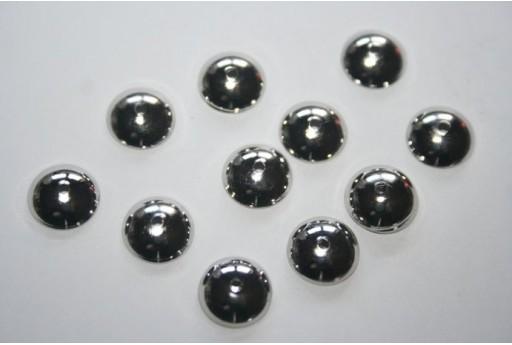 Platinum Plated Bead Caps 10mm - 12pcs