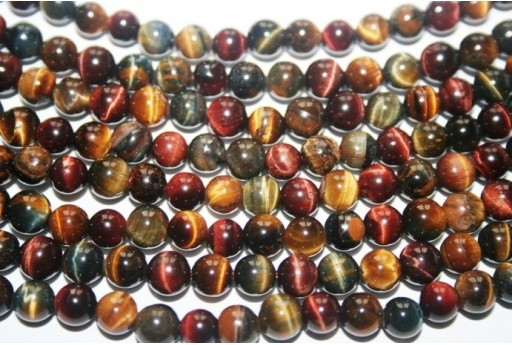 Tiger's Eye Round Bead Strand Multicolour 64pcs 6mm OCDT19