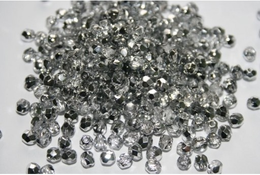 Fire Polished Beads Silver 1/2 4mm - 60pz