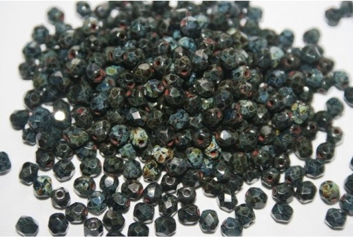 Fire Polished Beads Jet Picasso 4mm - 60pz
