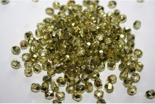 Perline Mezzi Cristalli Coated-Yellow Green 4mm - 60pz