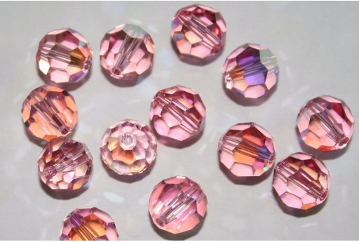 Round Swarovski Light Rose AB 10mm - 2pz