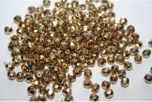 Perline Mezzi Cristalli Coated-Gold 4mm - 60pz