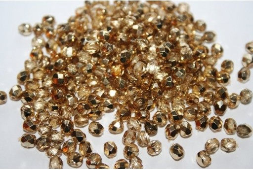 Fire Polished Beads Coated-Gold Crystal 4mm - 60pz
