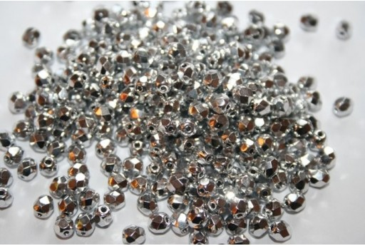 Fire Polished Beads Silver 4mm - 60pz