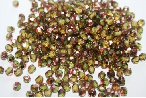 Fire Polished Beads Copper-Olivine Col.C50230 4mm - 60pz
