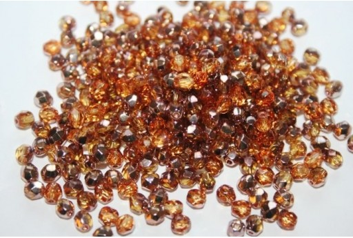 Fire Polished Beads Copper-Medium Topaz Col.C10040 4mm - 60pz