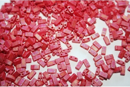 Perline Miyuki Half Tila 1/2 Cut Matte Opaque Red AB 2,5x5mm - 5gr