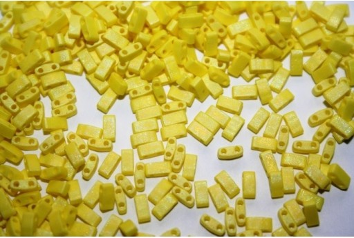 Miyuki Half Tila Beads 1/2 Cut Matte Opaque Yellow AB 2,5x5mm - 5gr