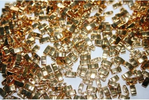Perline Miyuki Half Tila 1/2 Cut 24KT Gold Plated 2,5x5mm - 5gr