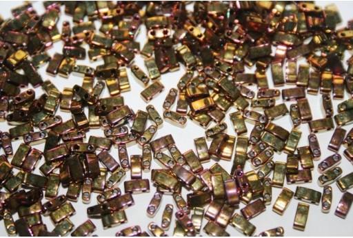 Perline Miyuki Half Tila 1/2 Cut Metallic Gold Iris 2,5x5mm - 5gr
