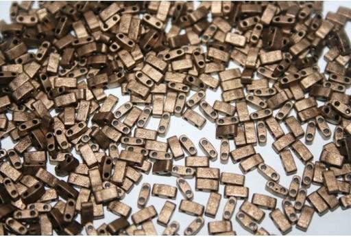 Miyuki Half Tila Beads 1/2 Cut Matte Metallic Gold 2,5x5mm - 5gr