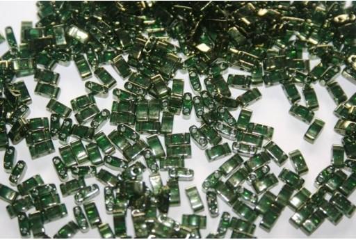 Perline Miyuki Half Tila 1/2 Cut Olive Green Gold Luster 2,5x5mm - 5gr