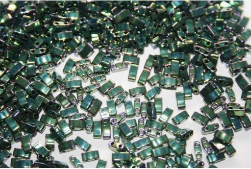 Perline Miyuki Half Tila 1/2 Cut Metallic Green Iris 2,5x5mm - 5gr