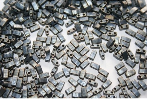 Perline Miyuki Half Tila 1/2 Cut Matte Metallic Silver Grey 2,5x5mm - 5gr
