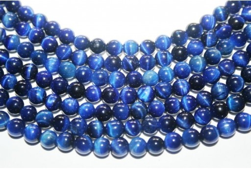 Tiger's Eye Round Bead Strand Blue 64pcs 6mm OCDT16
