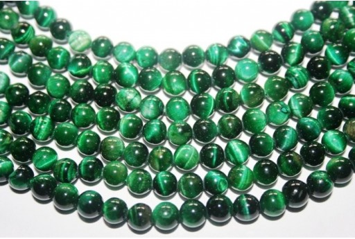 Tiger's Eye Green Round Bead Strand 64pcs 6mm OCDT20