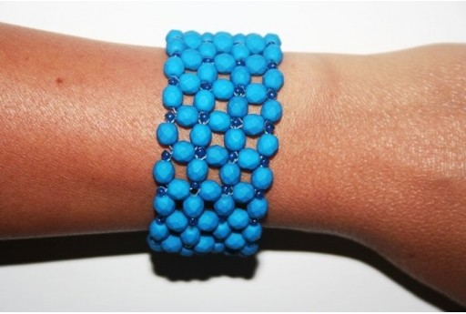 Kit Bracciale Mezzi Cristalli Neon-Blue 6mm BR010