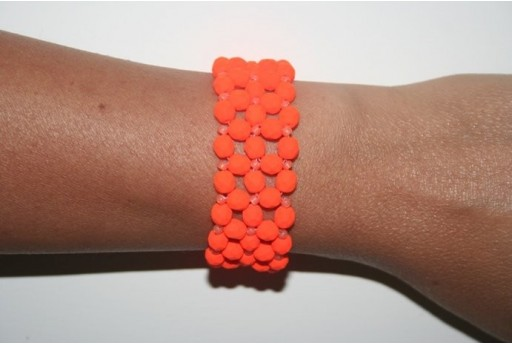 Kit Bracciale Mezzi Cristalli Neon-Orange 6mm BR011