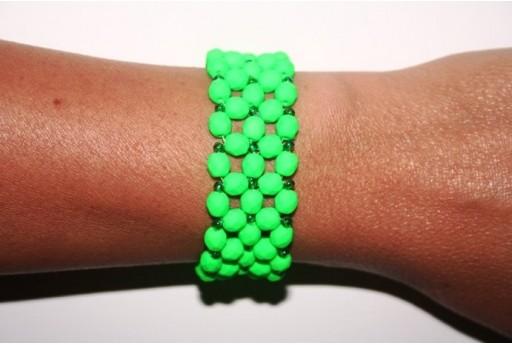 Fire Polished Beads Neon-Green 6mm - Bracelet Kit