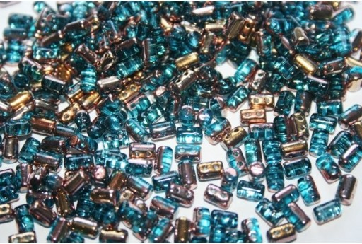 Perline Rulla 3x5mm, 10gr., Copper-Aqua Col.C60020