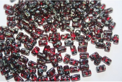 Rulla Beads 3x5mm, 10gr., Siam Ruby-Picasso Silver