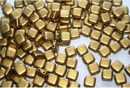 Tile Beads 6mm, 50Pz., Matte Metallic Aztec Gold Col.K0172