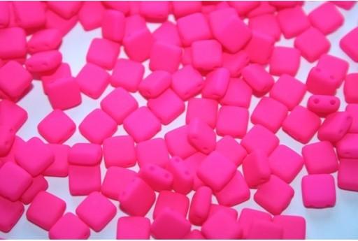 Tile Beads 6mm, 50Pz., Neon-Pink Col.25123AL
