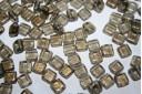 Tile Beads 6mm, 50Pz., Gold Marbled-Black Diamond Col.GM40010