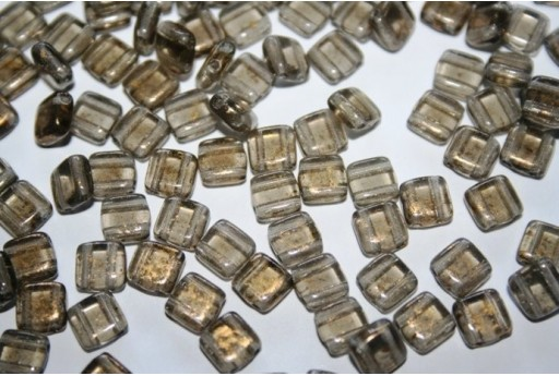 Tile Beads 6mm, 50Pz., Gold Marbled-Black Diamond Col.GM40010