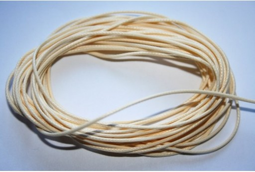 Cream Waxed Polyester Cord 1mm - 12m MIN125E