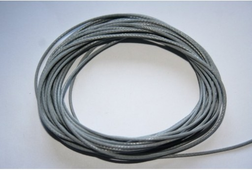 Grey Waxed Polyester Cord 1mm - 12m MIN125H