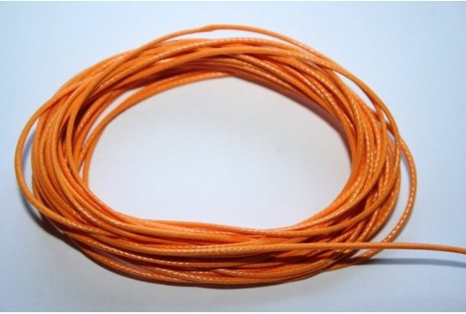 Orange Waxed Polyester Cord 1mm - 12m MIN125L
