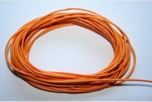 Orange Waxed Polyester Cord 1mm - 12m MIN125L