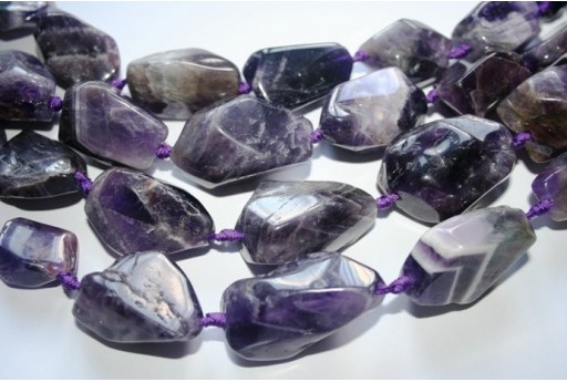 Amethyst Beads Rock 20x30mm - 13pz